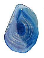 Sky Blue Line Agate Freeform Slice Pendant 50-56x34-45mm
