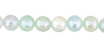 Seafoam Line Agate w/ Silver Luster Faceted Round 8mm