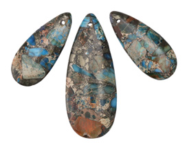 Teal Impression Jasper & Pyrite Pendant Set 21x50mm, 15x34mm