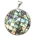 Abalone Mosaic 2-Sided Wrapped w/ Bail Round Pendant 37x48mm
