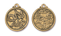 TierraCast Antique Gold (plated) Dragon Coin Pendant 25x28mm