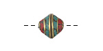 Tibetan Brass Saucer Bead w/ Turquoise & Coral Mosaic 11-12mm