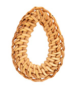 Natural Rattan-Style Large Woven Teardrop Focal 33-35x48-50mm