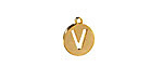 """Gold (plated) Stainless Steel Initial Coin Charm """"V"""" 10x12mm"""
