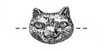 Green Girl Pewter Cute Cat Face Button 22x17mm