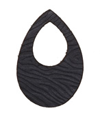 Lillypilly Black Zebra Embossed Leather Small Open Teardrop 34x50mm