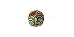 Tibetan Brass Bead w/ Double Ringed Coral & Turquoise Mosaic 11-12mm
