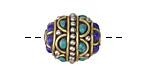 Tibetan Brass & White Brass w/ Turquoise & Lapis Rice Bead 18x17mm