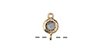 Smokey Crystal in Gold (plated) Textured Bezel Link 7x12mm