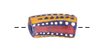 African Hand-Painted in Red/Saffron/White on Cobalt Powder Glass (Krobo) Bead 22-26x10-11mm