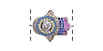 Jewel Tone Mix Pave CZ Rhodium (plated) Hamsa Focal Link 22x16mm