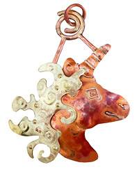 Patricia Healey Copper Magical Unicorn Pendant 57x78mm