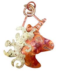 Patricia Healey Copper Magical Unicorn Pendant 57x78mm