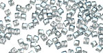 Clear w/Luster Blue Crystal Faceted Cube 2mm