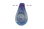 XAZ Raku Stan's Blue Concentric Circles Small Drop Pendant 14x25-27mm