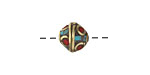 Tibetan Brass Bead w/ Turquoise & Coral Mosaic 10-12mm