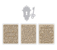 "Vintaj Ornamental Keyhole Thinlits Die with Textured Impressions 2.6""x2.4"""