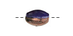 Greek Ceramic Raku Metallic Midnight Small Oval Bead 14x7mm