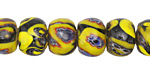 Nepalese Glass Marbled Rondelle Beads 9-10x12-13mm