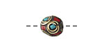 Tibetan Brass Bead w/ Concentric Circles in Turquoise & Coral Mosaic 11-12mm