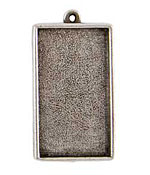 Nunn Design Antique Silver (plated) Grande Rectangle Bezel Pendant 46x25mm