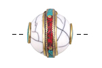 Tibetan White Shell & Brass Bead w/ Coral & Turquoise 23-24x24-25mm