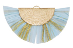 Aqua w/ Metallic Gold Fringed Raffia Focal 45x27mm