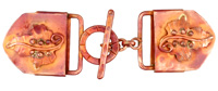 Patricia Healey Copper Maple Leaf 18mm Cord Slide Toggle Clasp 80x24mm, 26mm Bar