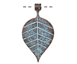 Greek Copper (plated) Patina Linear Leaf Drop 21x39mm