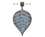 Greek Copper Patina Linear Leaf Drop 21x39mm