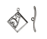 Antique Silver (plated) Diamond w/ Swirls Toggle Clasp 28x24mm, 29mm bar