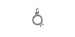Clear Pave CZ Stainless Steel Engagement Ring Charm 8x15mm