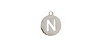 """Stainless Steel Initial Coin Charm """"N"""" 10x12mm"""