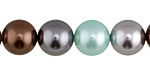 Mint Chocolate Shell Pearl Mix Round 12mm
