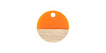 Wood & Tangerine Resin Coin Focal 15mm