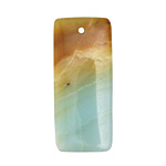 Black Gold Amazonite Rectangular Pendant 18x42mm
