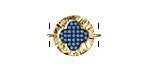 Turquoise Pave CZ 18K Gold (plated) Ruffled Quatrefoil Focal Link 18x14mm