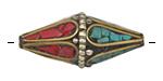 Tibetan White Brass & Brass Rice Bead w/ Coral & Turquoise Mosaic Petals 38x18mm
