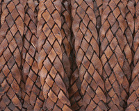 Natural Red Brown 5-Strand Flat Braided Leather Cord 10mm