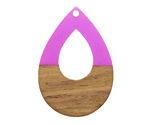 Walnut Wood & Orchid Resin Open Teardrop Focal 25x38mm