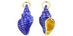Cloisonné Blue w/ Gold Finish Cinerea Shell Focal 12x21-22mm