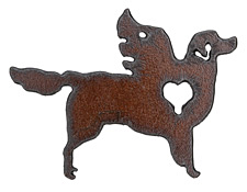 The Lipstick Ranch Rusted Iron Winged Retriever Pendant 70x51mm