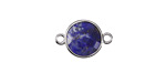 Lapis (enhanced) Faceted Coin Focal Link in Silver Finish Bezel 12x18mm