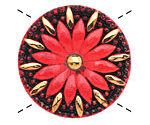 Czech Glass Cherry Red Daisy Button 32mm