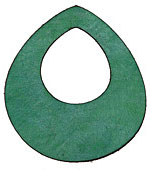 Lillypilly Sea Green Leather Large Open Teardrop 49x54mm