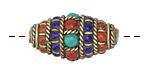 Tibetan Brass Rice Bead w/ Coral, Turquoise & Lapis 30x16mm