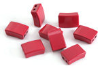 Red Enamel 2-Hole Tile Rectangle Bead 12x8mm