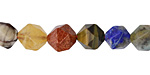 Multi Gemstone (Sodalite, Tiger Eye, Red Jasper, Aventurine) Star Cut Round 9-10mm