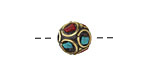 Tibetan Brass Bead w/ Turquoise & Coral Dot Mosaic 9-10mm