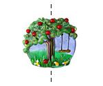 Grace Lampwork Apple Tree Lentil 26x24mm